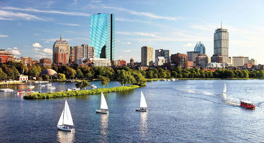 Sail boats on the Charles River, Boston