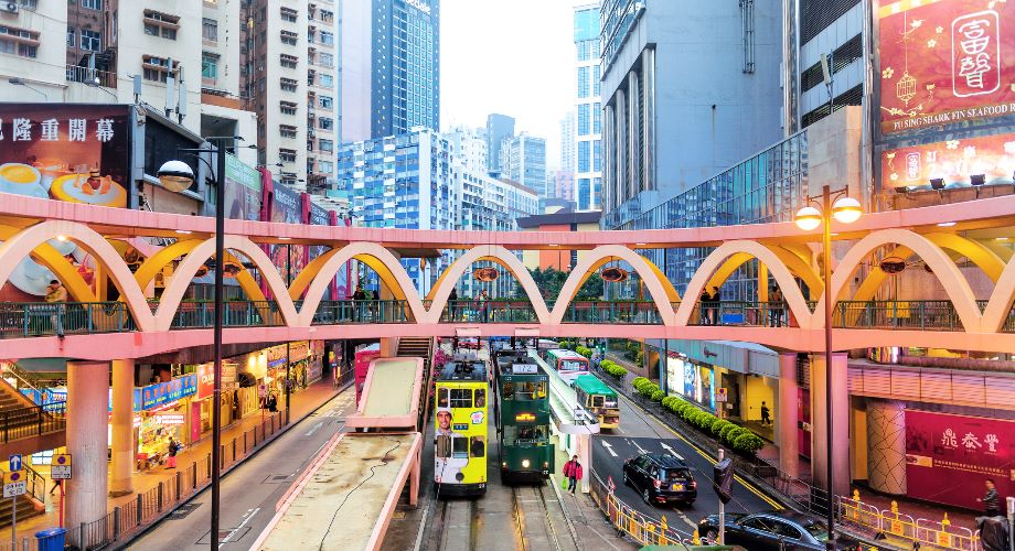Circular footbridge in Causeway Bay