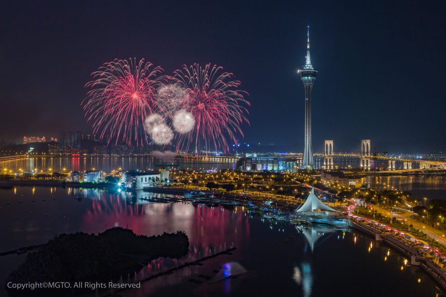 Fireworks against the Macao skyline. Image courtesy of MGTO.